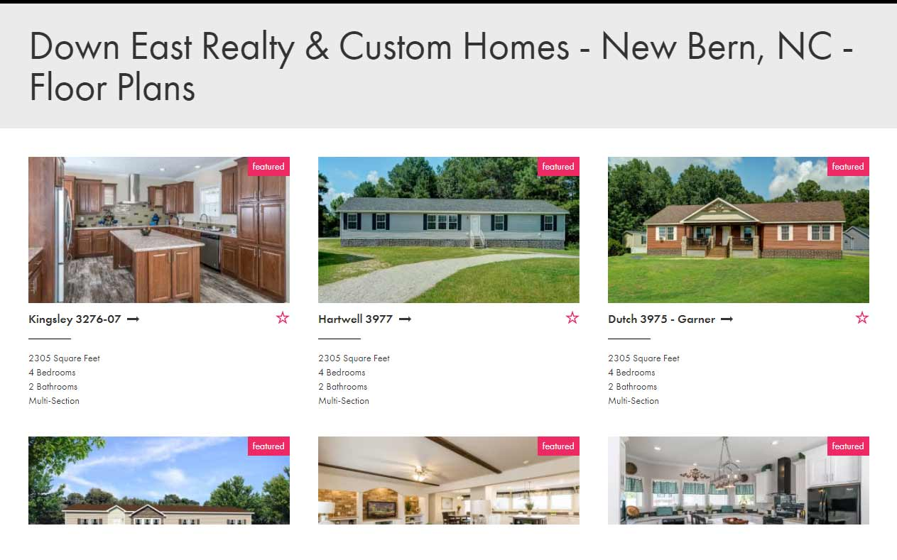 Champion homes authorized distributor nc down east homes for Custom homes new bern nc