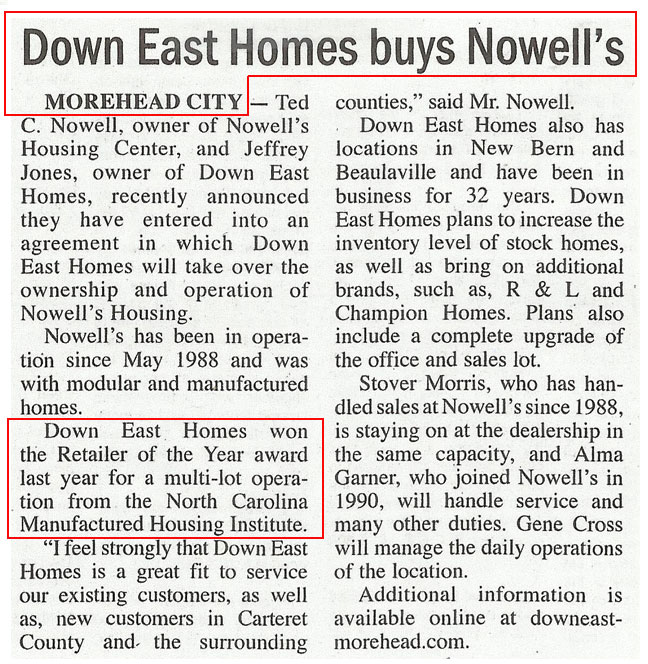 Down East Homes of Morehead City opens