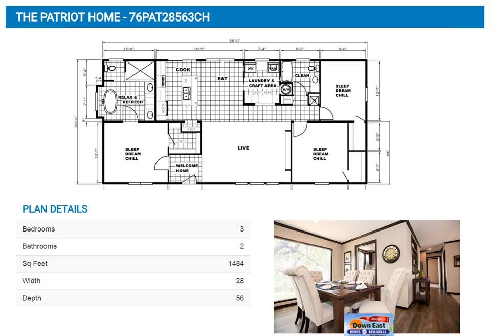 Patriot-Floor-Plan - Down East Realty & Custom Homes