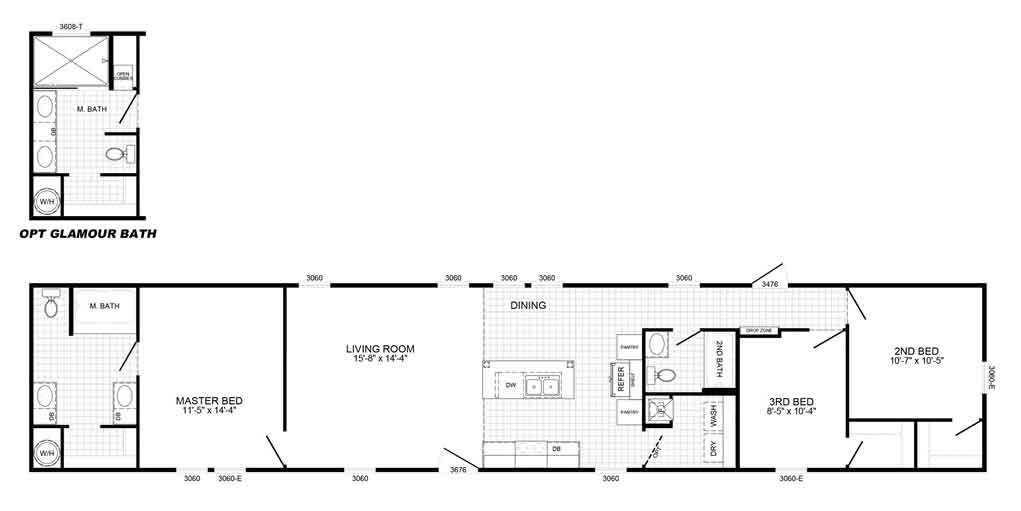 Pacesetter Single Wide Floor Plan