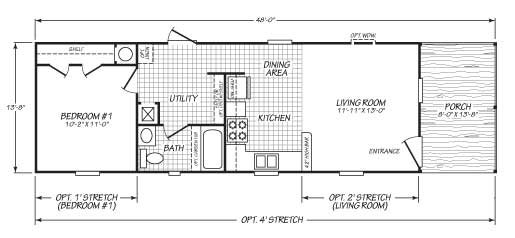 Getaway 1 bed floor plan